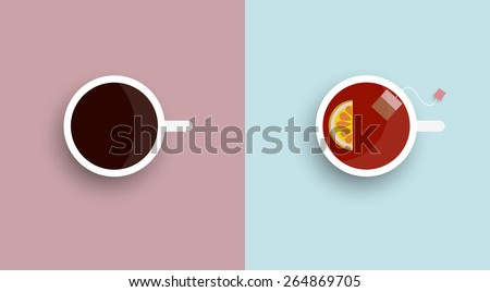 Two icons stylised cup tea and coffee - top view. Vector set  - stock vector