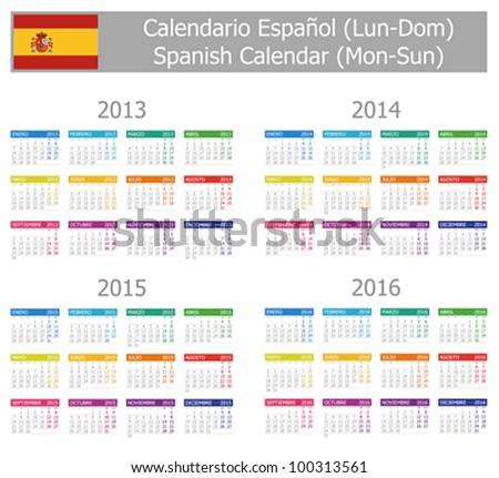 2013-2016 Type-1 Spanish Calendar Mon-Sun on white background - stock vector