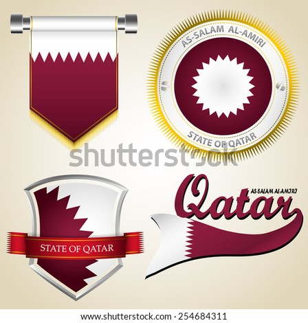 4 types of Qatar vintage logo on old paper color background.(EPS10 separate part by part) - stock vector