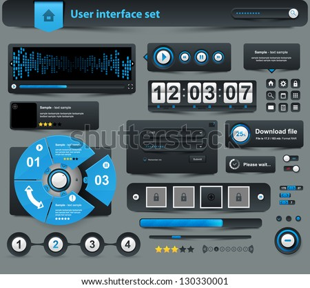 UI Elements Design black, Web site design - stock vector