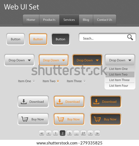 Ui Set for you web site grey orange - stock vector