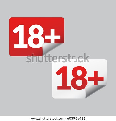 Under eighteen red and white sticker age limit signs