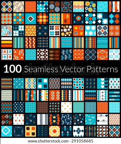 100 Universal different black and white vector seamless patterns tiling. Endless texture can be used for wallpaper, fills, web background, surface textures, textile. Colorful geometric ornaments. - stock vector