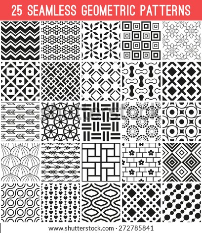 25 Universal different vector seamless patterns. Endless texture can be used for wallpaper, pattern fills, web page background,surface textures. Set of monochrome geometric ornaments. - stock vector
