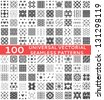 100 Universal different vector seamless patterns (tiling). Endless texture can be used for wallpaper, pattern fills, web page background,surface textures. Set of monochrome geometric ornaments. - stock