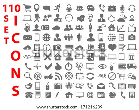 110 Universal flat Icons for Web, Mobile, business, finance and communication