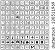 100 Universal Hand Drawn Outline Icons For Web and Mobile in vector. - stock photo