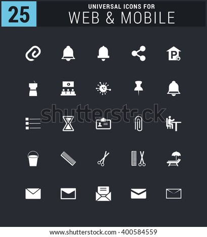 25 Universal icon set. simple pictogram minimal, flat, solid, mono, monochrome, plain, contemporary style. Vector illustration web internet design elements