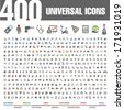 400 Universal Icons. - stock vector