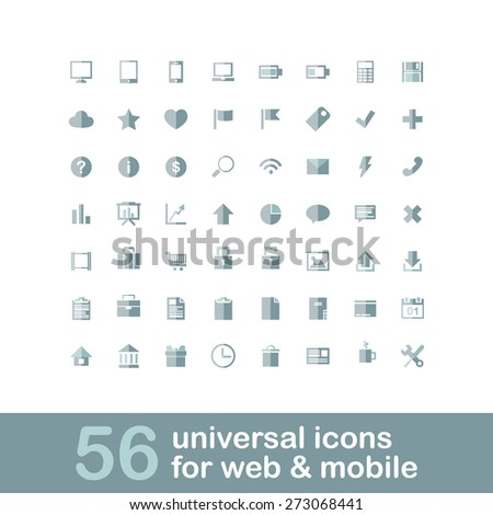 56 universal icons for web and mobile. Flat design. - stock vector
