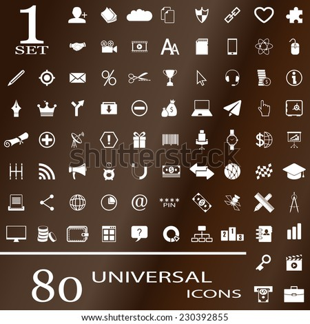 80 universal icons for websites. Set 1. - stock vector
