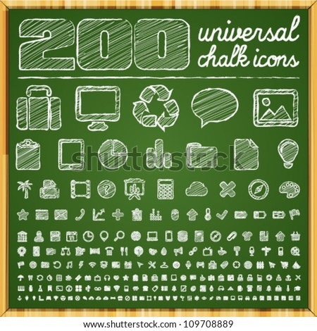200 Universal Icons in chalk doodle style - stock vector
