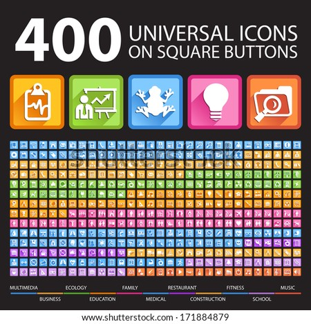 400 Universal Icons on Square Icons. - stock vector