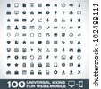 100 Universal Outline Icons For Web and Mobile - stock photo