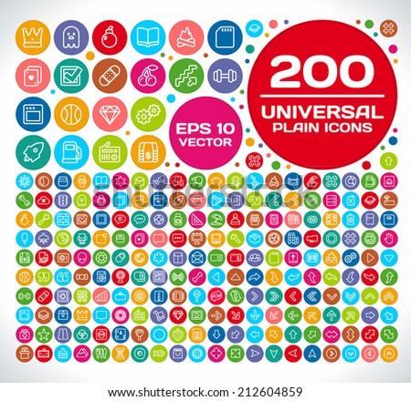200 Universal Plain Icon Set 2 - stock vector
