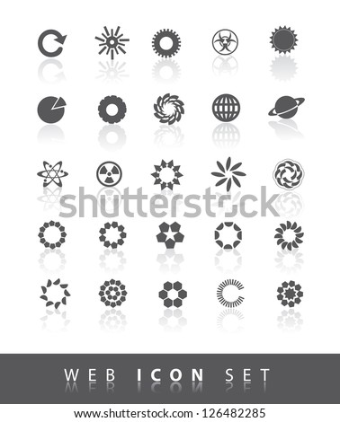 25 Universal Round web Icons Symbols EPS 8 vector, no open shapes or paths. - stock vector