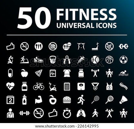 50 Universal Standard White Fitness Icons on Black Background. - stock vector