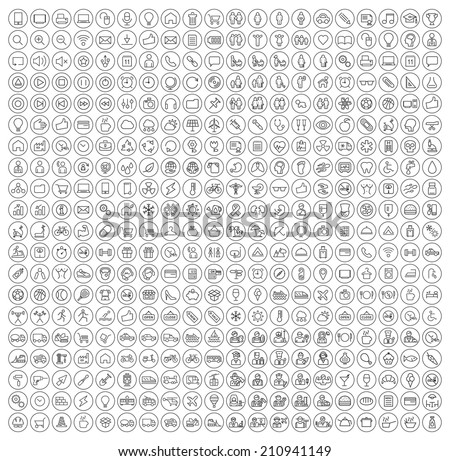 400 Universal Thin Line Black Icons on Circular Buttons ( Business , Multimedia, Education, Ecology, Medical, Fitness, Family, Construction, Transport, Professions, Travel, Restaurant, Hotel ) - stock vector
