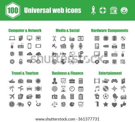 100 universal vector icons - Computer Networks,  Media and Social, PC Hardware Components, Travel and Tourism, Business and Finance, Entertainment  - stock vector