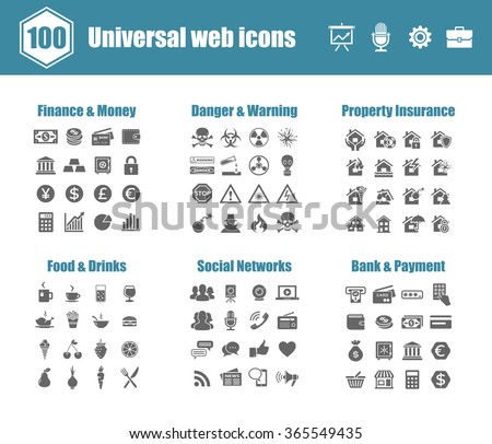 100 universal vector icons - Finance and Money, Danger and Warning, Property Insurance, Food and Drinks, Social Networks, Bank and Payment - stock vector