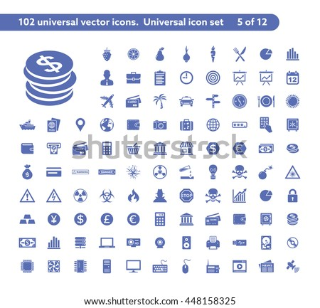 102 universal vector icons. The icon set includes Money and Payment, Danger and Warning, Computer Hardware symbols
