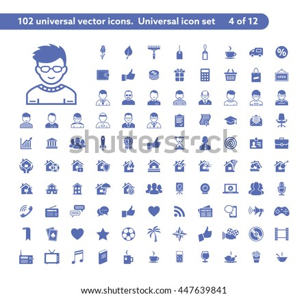 102 universal vector icons. The icon set includes Shop and Sale, User and Avatar, Property insurance, Social and Media symbols