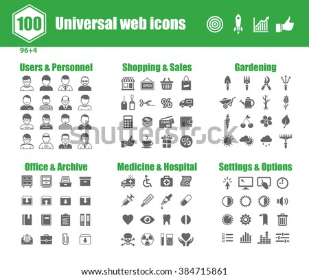 100 universal vector icons - Users and Personnel, Shopping and Sales, Gardening, Office and Archive, Medicine and Hospital, Settings and Options - stock vector