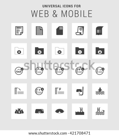 25 Universal web and mobile icon set. A set of 25  flat icons for mobile and web.  - stock vector