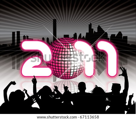 2011 Urban background with party people - stock vector