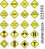 20 US Road Warning Signs - stock photo
