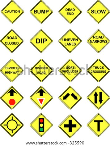 20 US Road Warning Signs - stock vector