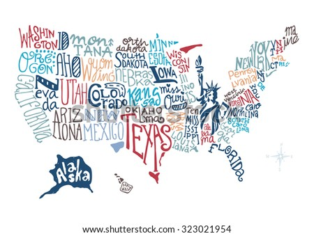 Usa Hand Drawn Map Vector Illustration Stock Vector - Hand drawn us map vector