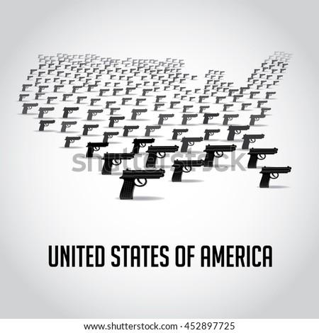 Usa Map Made Guns Eps Stock Vector Shutterstock - Usa map eps