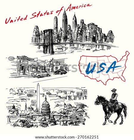 USA, New York, Washington - hand drawn collection  - stock vector