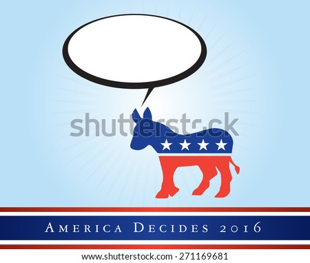 2016 USA presidential election poster or sticker, with emphasis in the Democratic Party. Vector file available. .  - stock vector