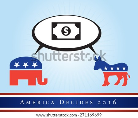 2016 USA presidential election poster or sticker, with emphasis in the economy. Vector file available.   - stock vector