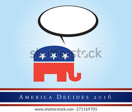 2016 USA presidential election poster or sticker, with emphasis in the Republican Party. Vector file available. .  - stock vector