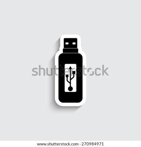 usb flash drive - vector icon - stock vector