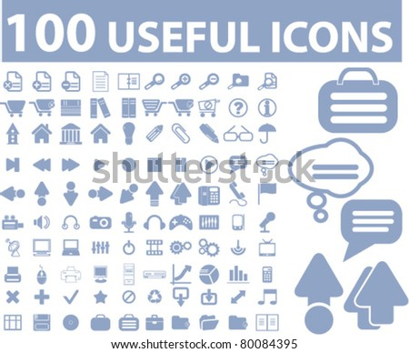 100 useful icons, signs, vector illustrations - stock vector