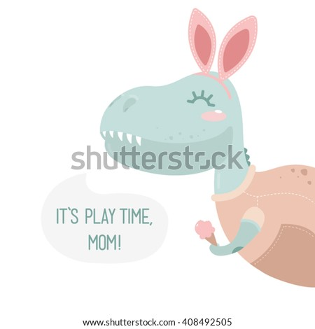?ute dinosaur for children's posters and postcards - stock vector