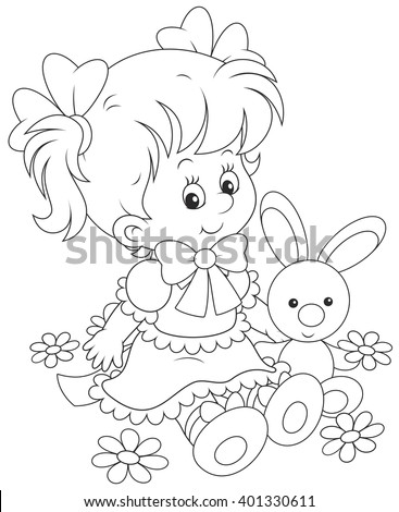 ?ute little girl in a beautiful dress sitting with a small toy rabbit among flowers
