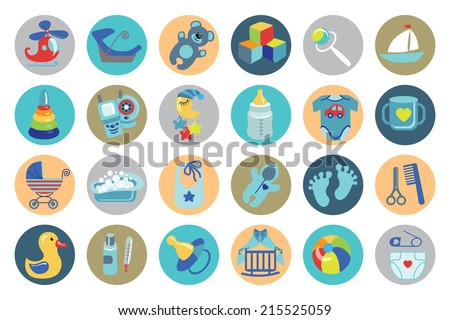 Ã?Â??ute Newborn flat icons set for Baby boy.Baby shower  cartoon design elements.For web and mobile phone.New born baby infographic.Vector - stock vector