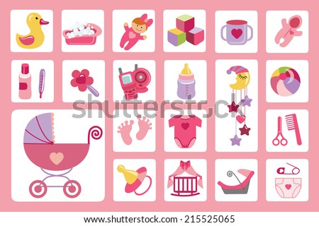 Ã?Â??ute Newborn flat icons set for Baby girl.Baby shower cartoon design elements.For web and mobile phone.New born baby infographic.Vector - stock vector