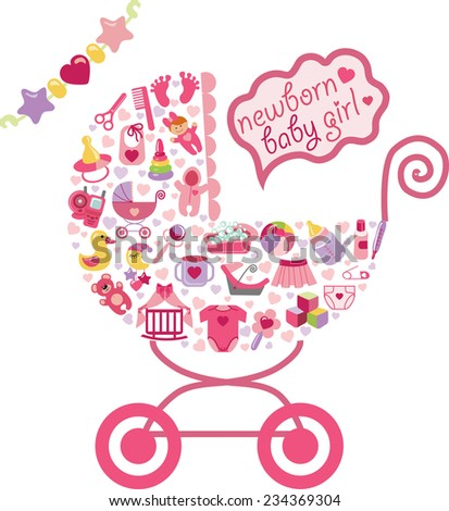 newborn icons set baby girl composition form stock vector royalty