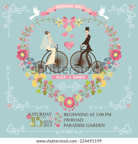 ??ute wedding invitation with floral wreath in heart form,swirling border.Cute cartoon couple groom and bride on retro bicycle with vignettes,ribbons,pigeons.Vintage Vector design template - stock vector