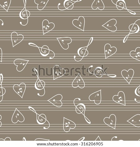 Valentine's Day background. Music seamless pattern. Clef. Hearts. Notes. - stock vector