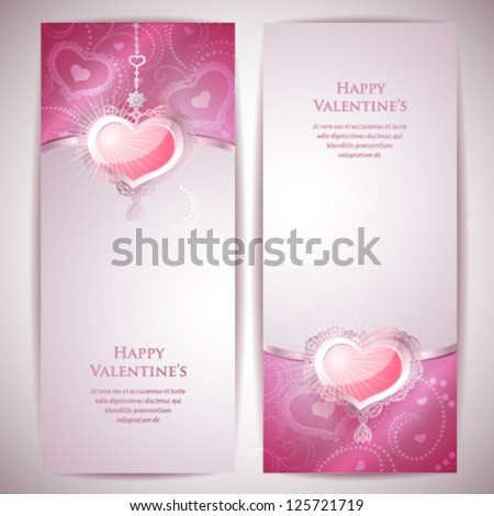 2 Valentine's Day Cards. - stock vector
