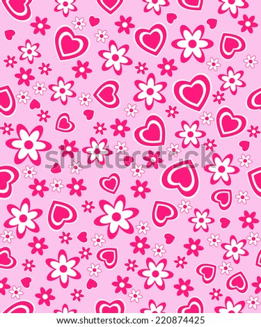 valentine's day seamless, pattern. hearts and flowers on a white background, vector illustration
