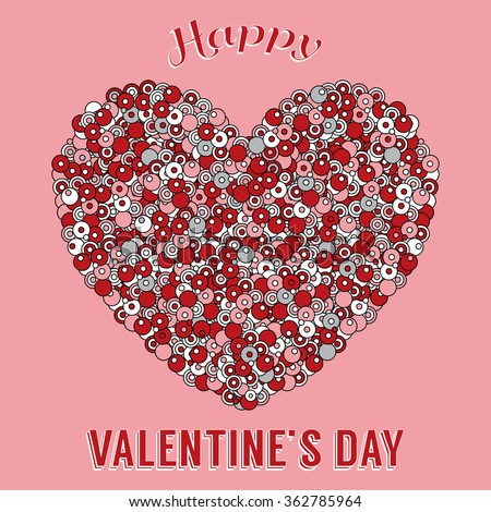 Valentines day theme greeting card colored stock vector hd royalty valentines day theme greeting card colored template with decorative heart element in zentangle style m4hsunfo