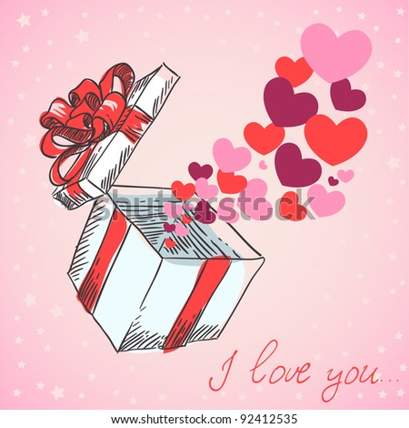 Valentine's hearts fly out of the gift box hand drawn retro card - stock vector
